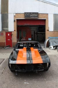Camaro Black with orange stripes