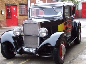 Austin-A10 Black with flame detail