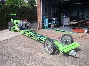Green Dragster with Black Flames